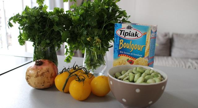 ingrédients du Le tabouleh féminin fèves, grenade et coriandre