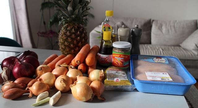 ingrédients du poulet à l'ananas - Vintage 90's