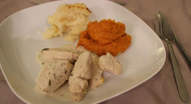 plat poulet estragon purée et potimarron - My Beautiful AirBnb Diner