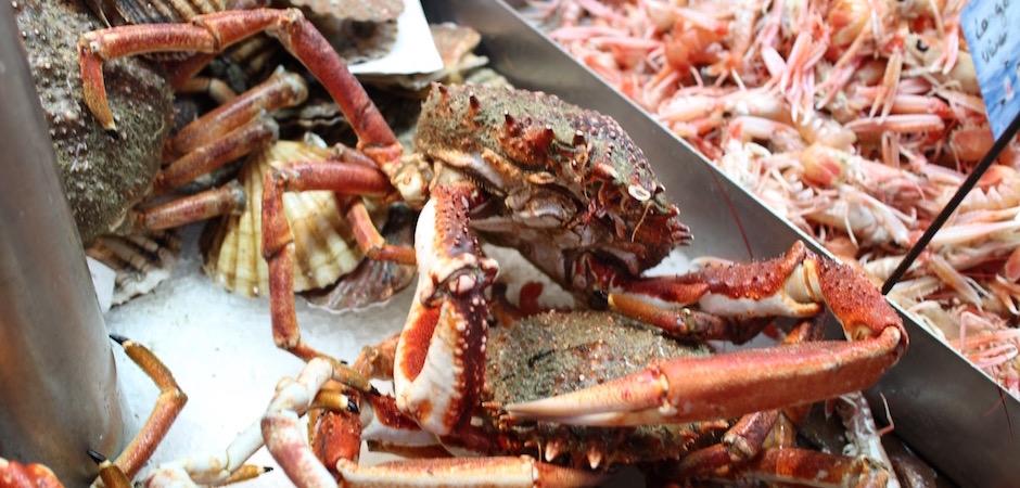 crabe tourteau frais - Le marché de Talensac - la visite foodie à Nantes