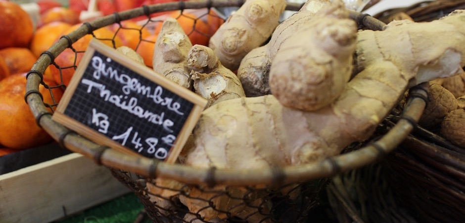 gingembre frais - Le marché de Talensac - la visite foodie à Nantes