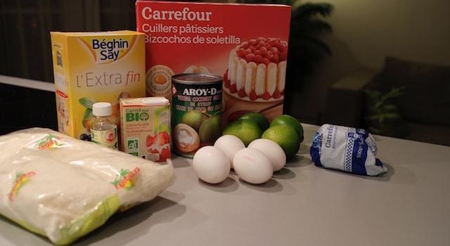 ingrédients Tiramisu coco citron vert