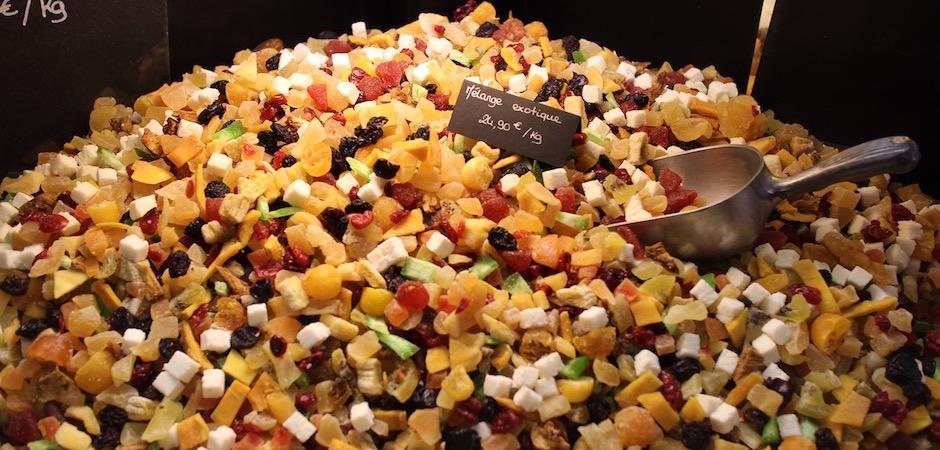 mélange de fruits secs exotiques - Le marché de Talensac - la visite foodie à Nantes