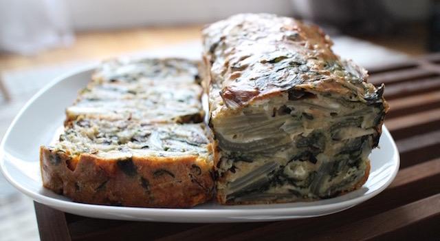 Servir le Cake aux blettes et au fromage de chèvre