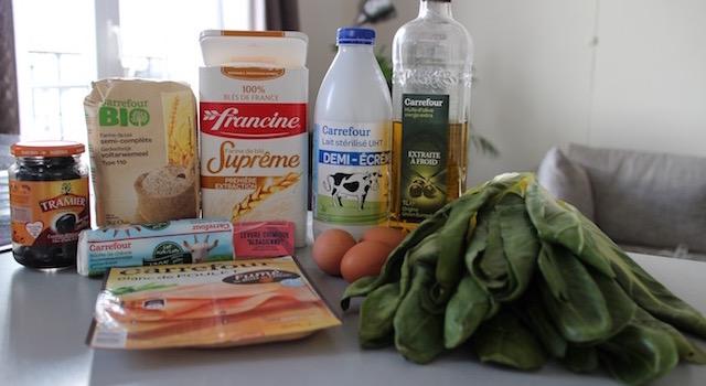 ingrédients Cake aux blettes et au fromage de chèvre