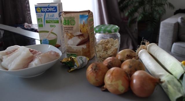ingrédients Cabillaud lait d'amande et amandes grillées