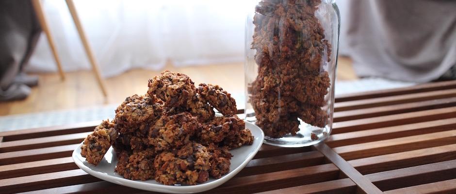 recette Cookies des sportifs banane, chocolat, noisette