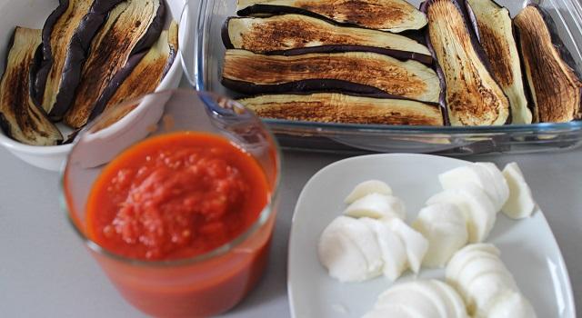 mise en place des ingrédients - Aubergines gratinées, tomate et mozzarella