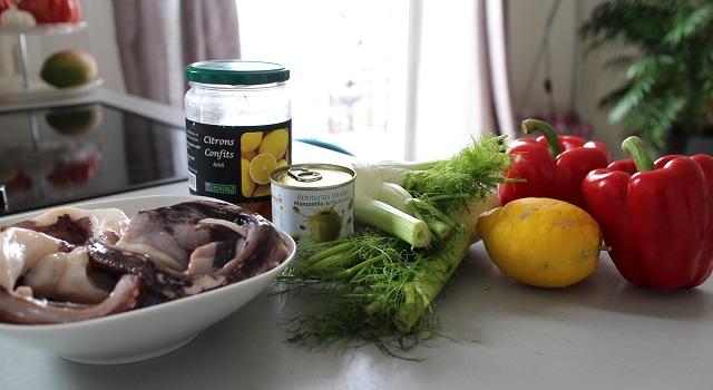ingrédients Salade de poulpe au citron confit