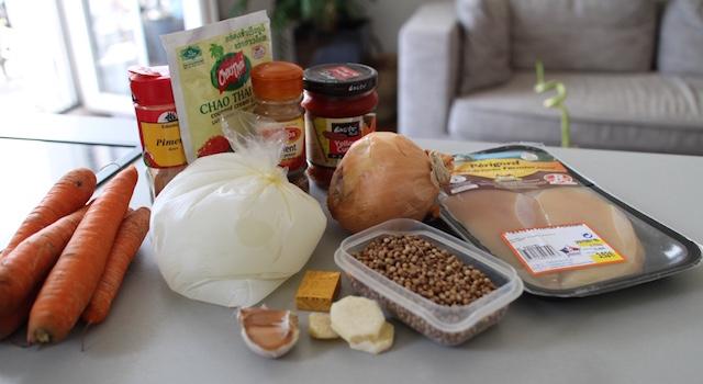 ingrédients Soupe thaï au poulet