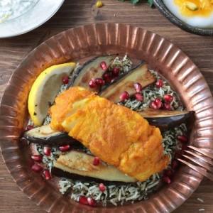 plat de fete - Nouvel An Iranien - Sabzi Polo Mahi