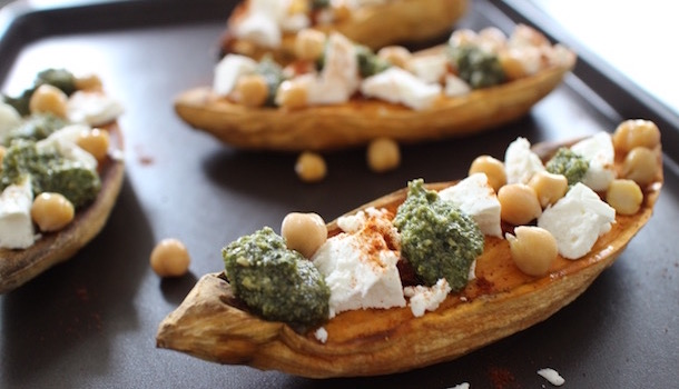 pesto, féta, piment - Sexy Patate douce rôtie