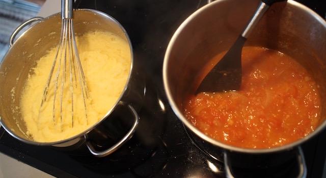 cuire la polenta - Boulettes d'agneau, polenta au lait d'amande