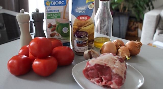 ingrédients - Boulettes d'agneau, polenta au lait d'amande