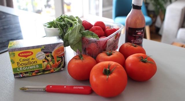 ingrédients - Lovely Smoothie tomates fraises au basilic