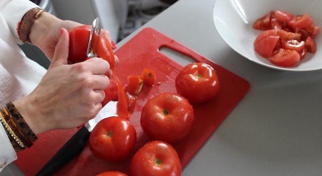 monder les tomates - Boulettes d'agneau, polenta au lait d'amande