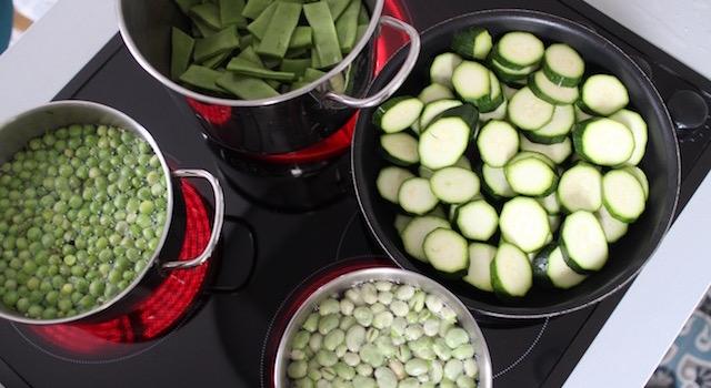 cuisson des légumes - Légumes verts en salade