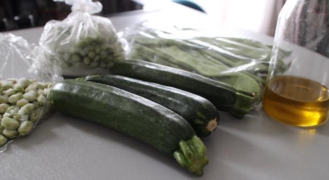 ingrédients - Légumes verts en salade