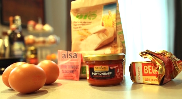 ingrédients - Mini madeleines salées aux poivrons